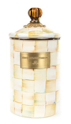 Parchment Check Enamel Canister - Large