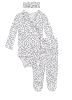 Minka - Ruffled Kimono Set/Footie Pants/Headband