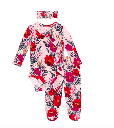 Chloe - Ruffled Kimono Set/Footie Pants/Headband