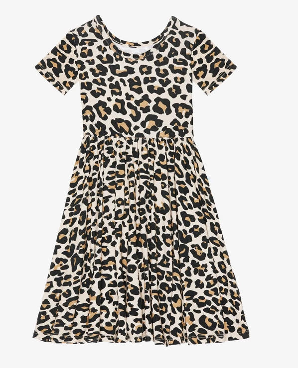Lana Leopard - Short Sleeve Twirl Dress