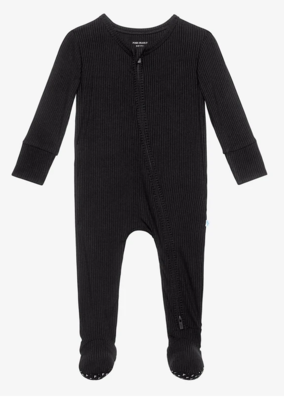 Ribbed Black - Footie Zippered One Piece