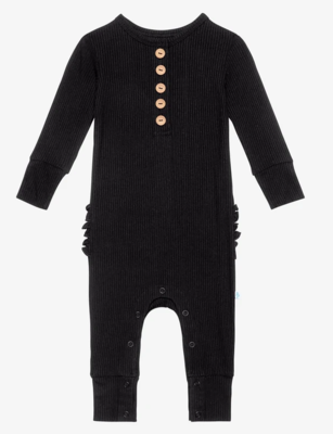 Ribbed Black - Long Sleeve Ruffled Henley Romper