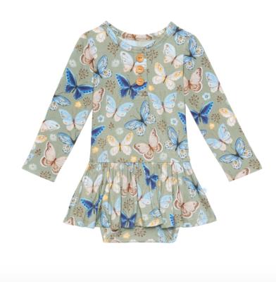 Lucy - Long Sleeve Henley w/ Twirl Skirt Bodysuit