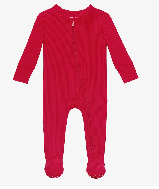 Ribbed Crimson - Footie Zippered One Piece