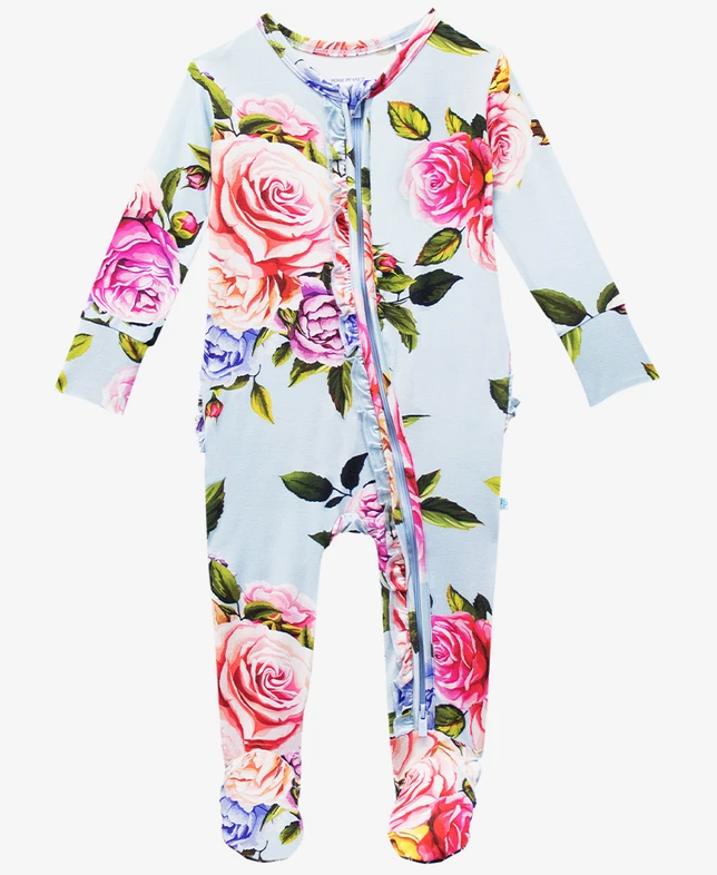 Country Rose - Footie Ruffled Zippered One Piece