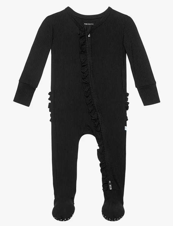 Ribbed Black - Footie Ruffled Zippered One Piece