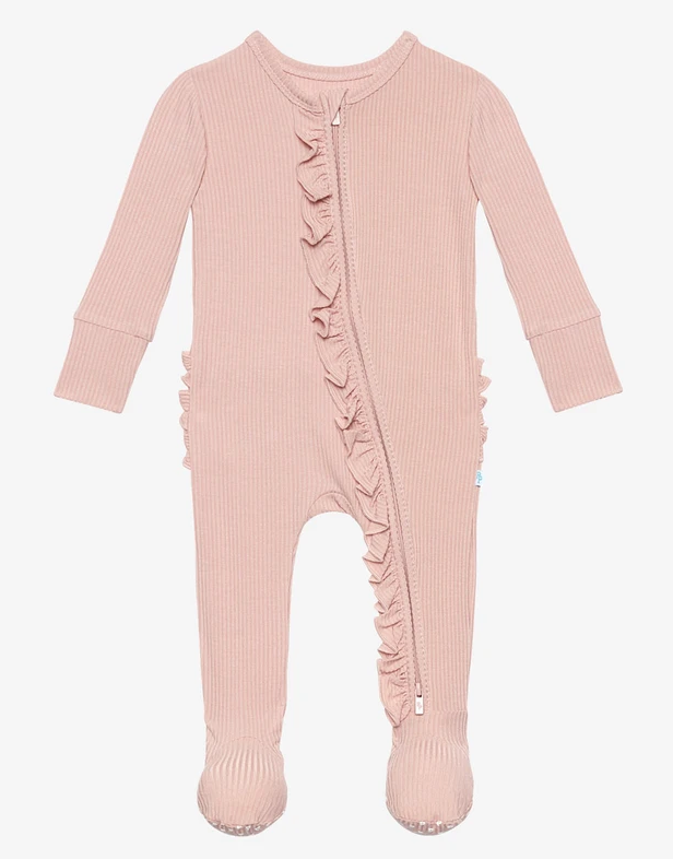 Ribbed Sweet Pink - Footie Ruffled Zippered One Pi