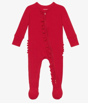 Ribbed Crimson - Footie Ruffled Zippered One Piece