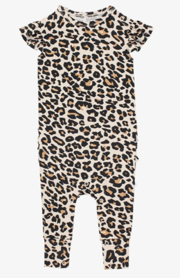 Lana Leopard - Ruffled Capsleeve Romper