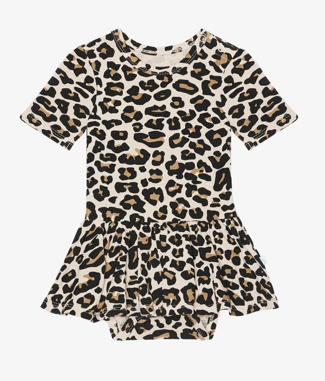 Lana Leopard - Short Sleeve Twirl Skirt Bodysuit