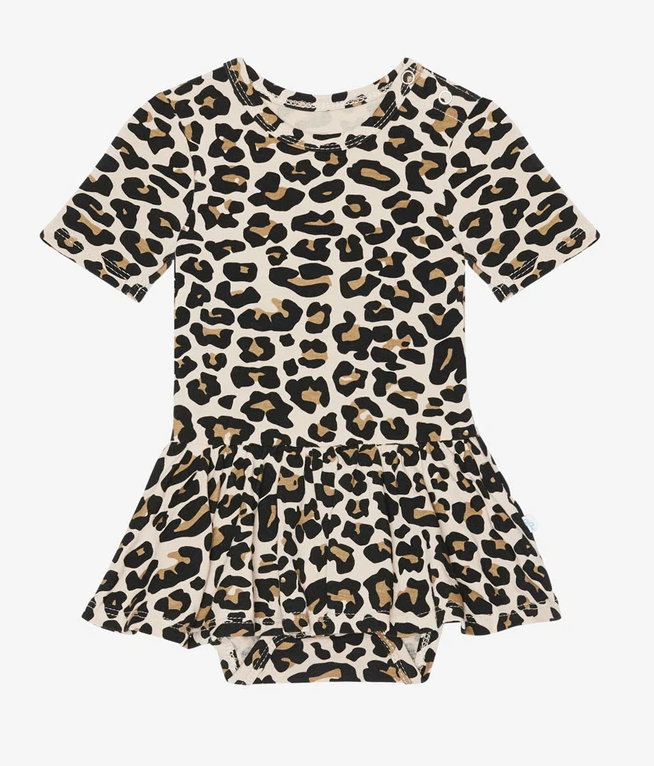 Lana Leopard - Short Sleeve Twirl Skirt Bodysuit