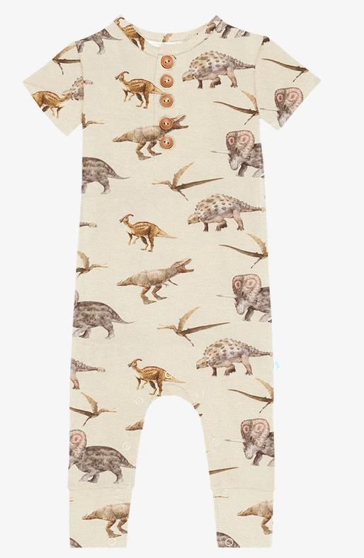 Vintage Dino - Short Sleeve Henley Romper