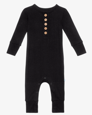 Ribbed Black - Long Sleeve Henley Romper
