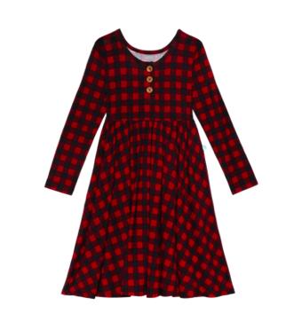 Grayson - Long Sleeve Henley Twirl Dress
