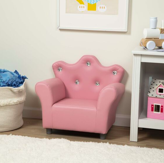 Child's Crown Armchair - Pink Faux Leather #30238