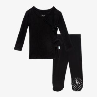 Ribbed Black - Tie Front Kimono