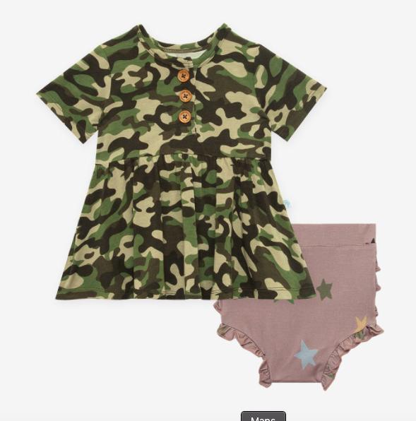 Cadet - Short Sleeve Henley Peplum Top/Bloomer