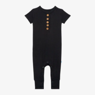 Ribbed Black - Short Sleeve Henley Romper