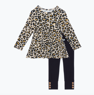 Lana Leopard - Long Sleeve Basic Peplum & Leggings