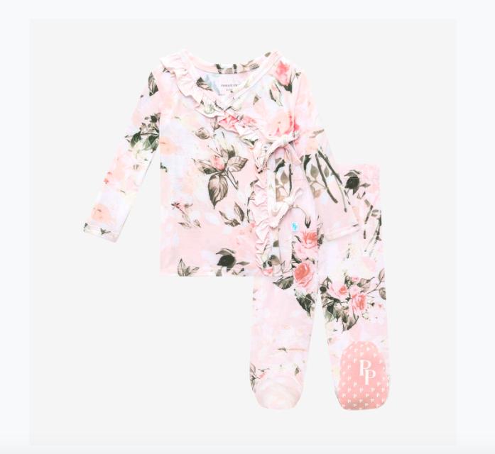 Vintage Pink Rose - Tie Front Ruffled Kimono