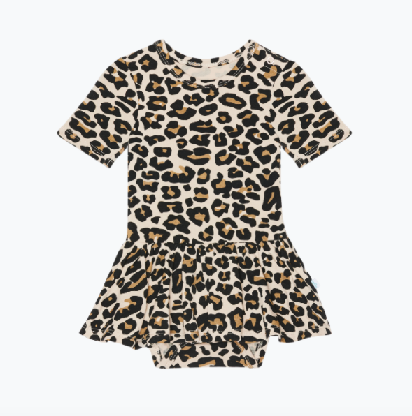 Lana Leopard Tan - Short Sleeve w/ Twirl Skirt