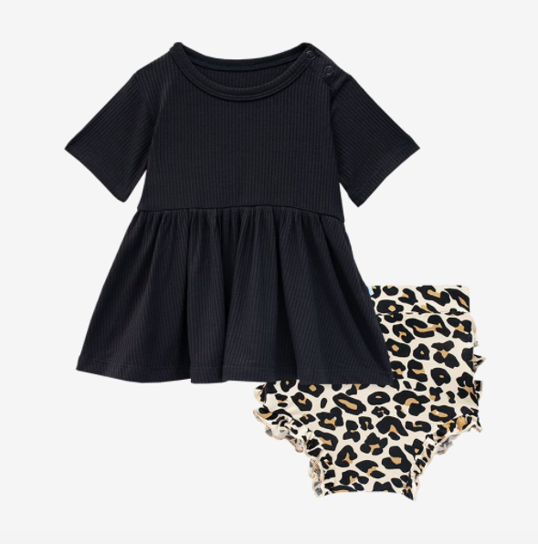 Lana Leopard Tan - Short Sleeve Peplum Top/Bloomer
