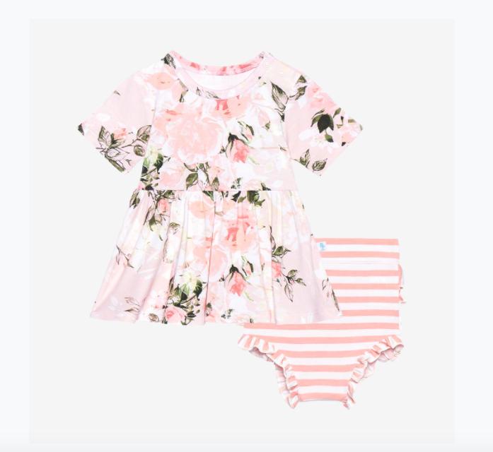Vintage Pink Rose -Short Sleeve Peplum Top/Bloomer