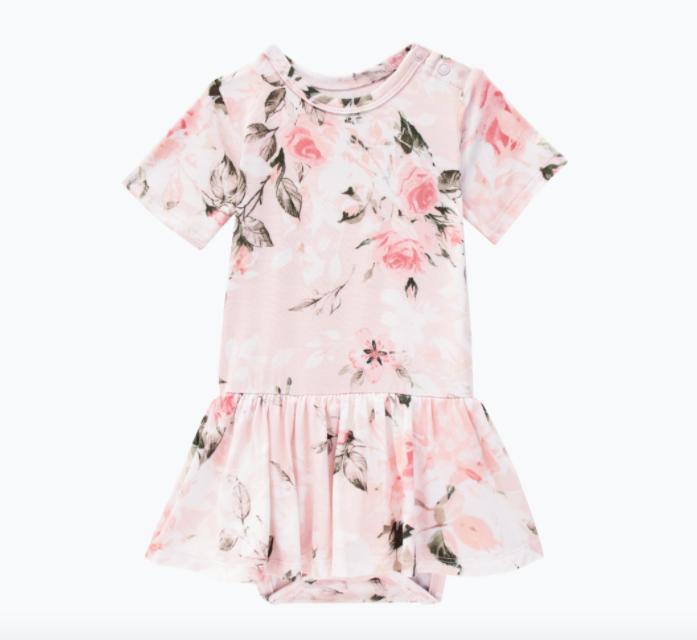Vintage Pink Rose - Short Sleeve w/ Twirl Skirt