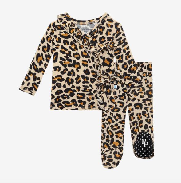 Lana Leopard Tan - Tie Front Ruffle Kimono