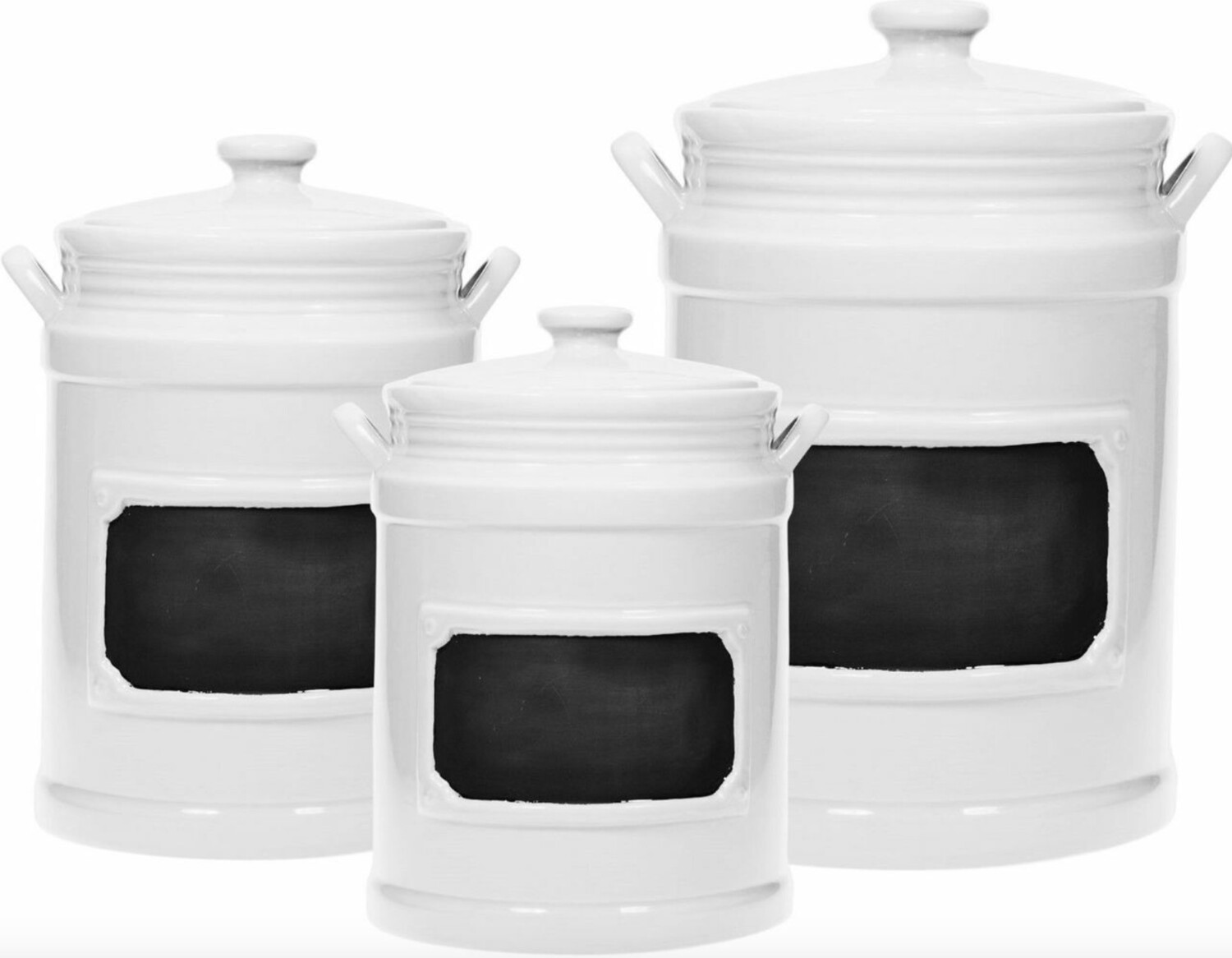 Set of 3 White Chalkboard Canisters
