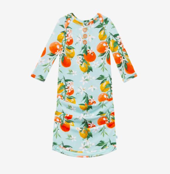 Mirabella - Wood Button Zippered Gown