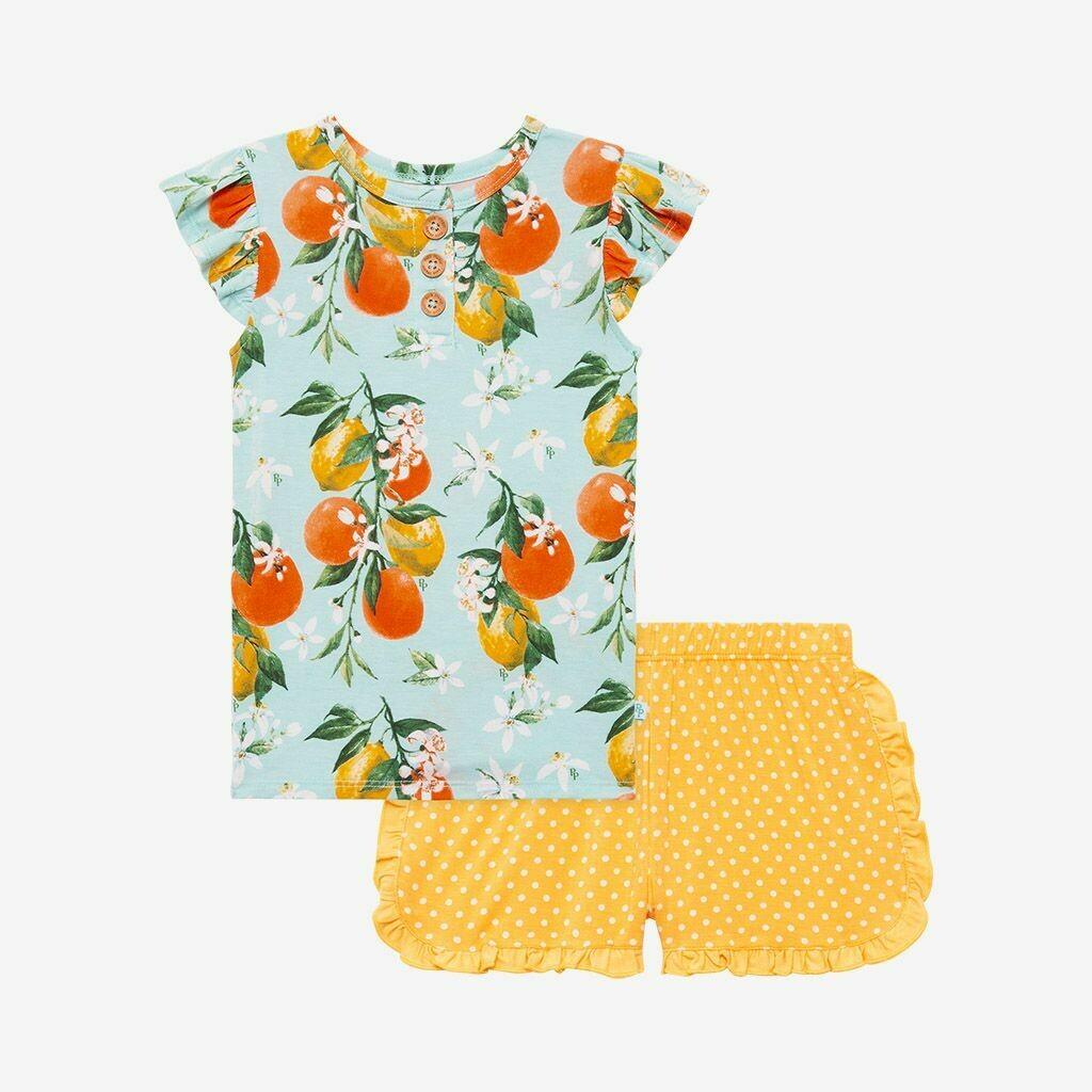 Mirabella-Ruffled Capsleeve Tshirt & Varsity Short