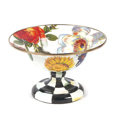 Flower Market Small Compote - White