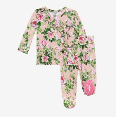 Renia - Tie Front Ruffled Kimono