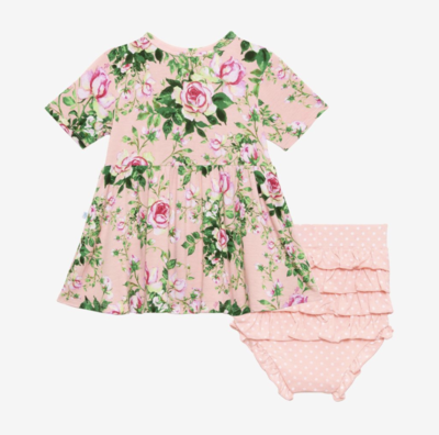 Renia - Short Sleeve Basic Peplum Top & Bloomers