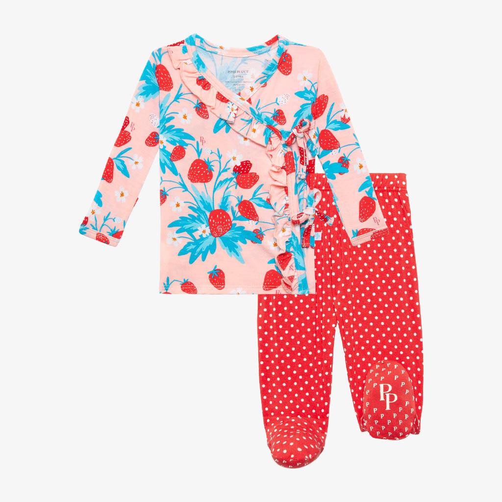 Strawberry - Tie Front Ruffled Kimono