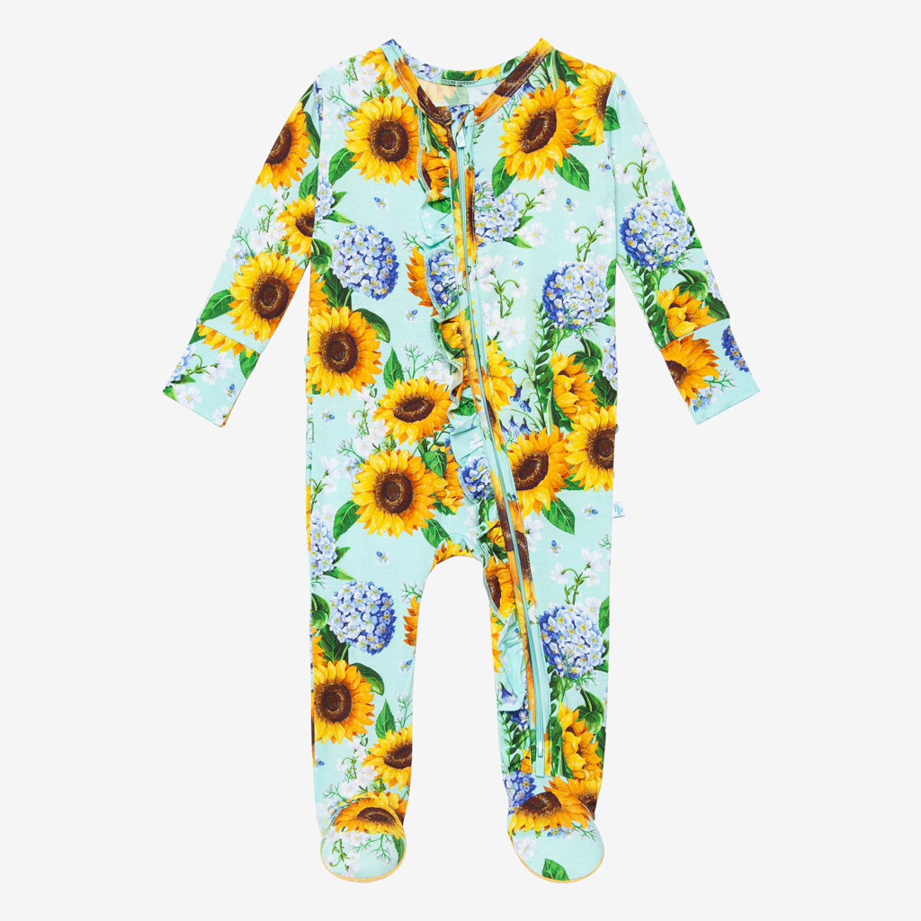 Sunny - Footie Ruffled Zippered One Piece