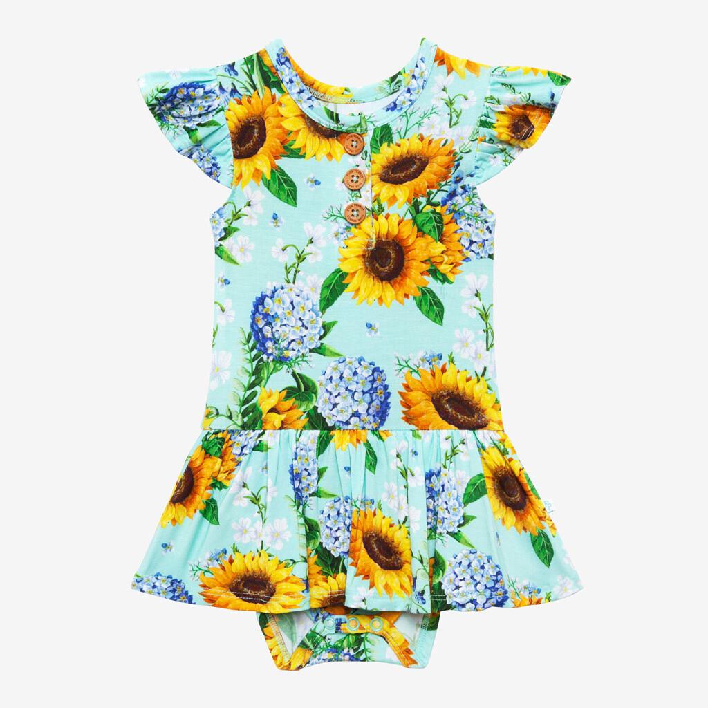 Sunny - Ruffled CapSleeve Henley Twirl Skirt Body