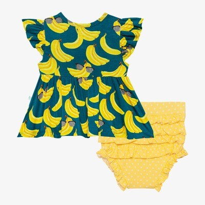 Bananas - Ruffled Capsleeve Henley Peplum T&B Set