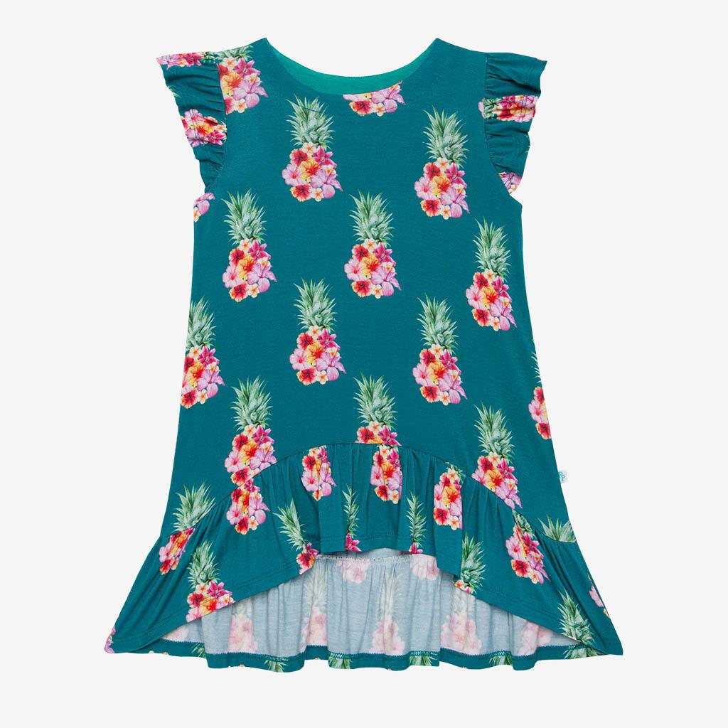 Ananans - Basic Ruffled Capsleeve Hi Low Dress