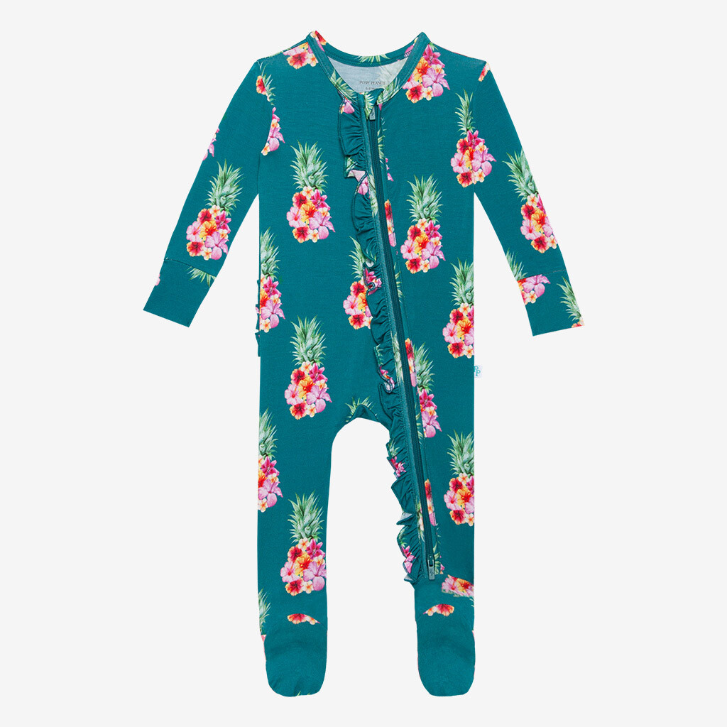 Ananans - Footie Ruffled Zippered One Piece