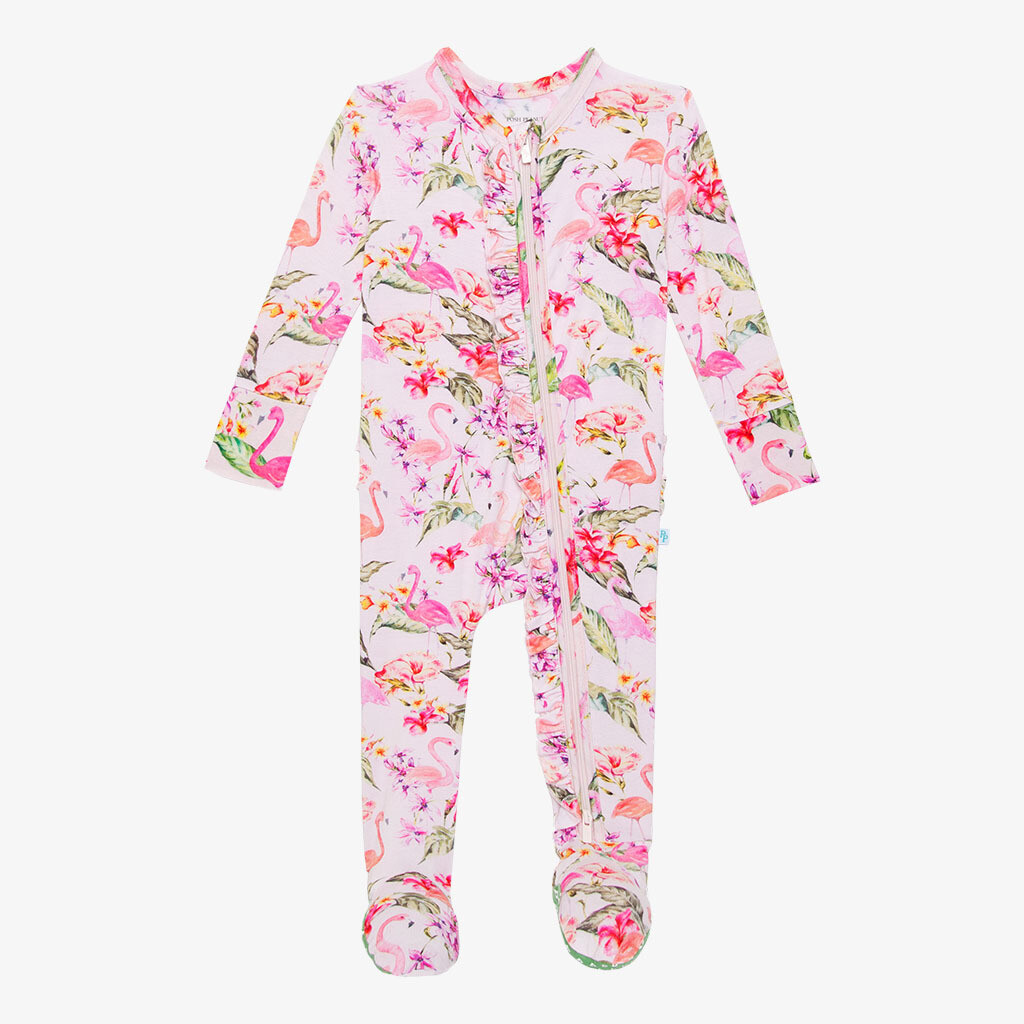 Leilani - Footie Ruffled Zippered One Piece