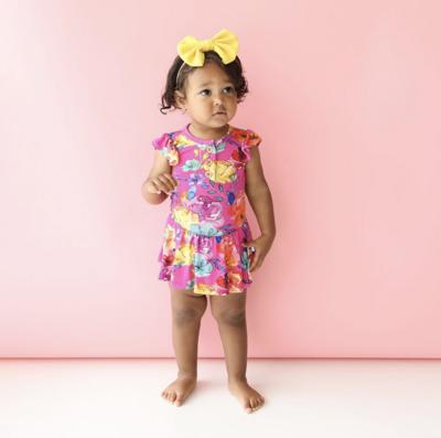 Aminatu - Ruffled Capsleeve Henley Twirl Skirt Bod