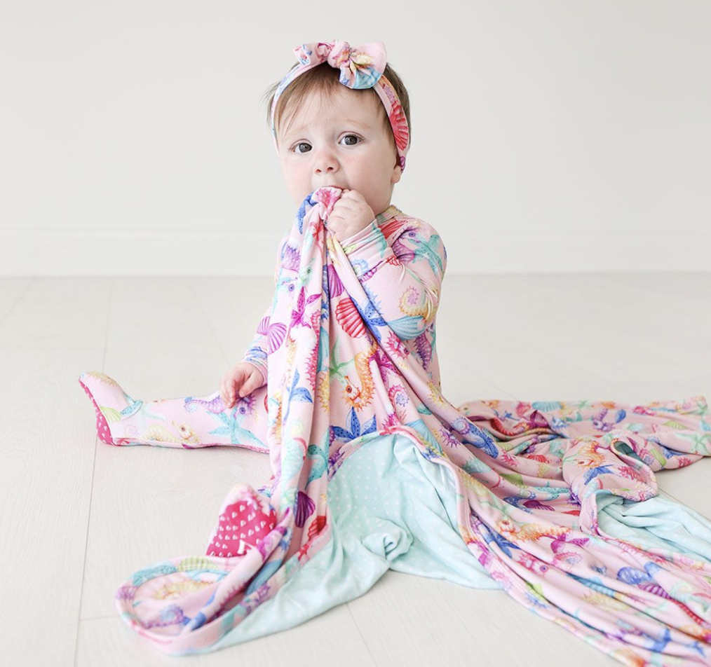 Coral - Infant Swaddle and Headwrap Set