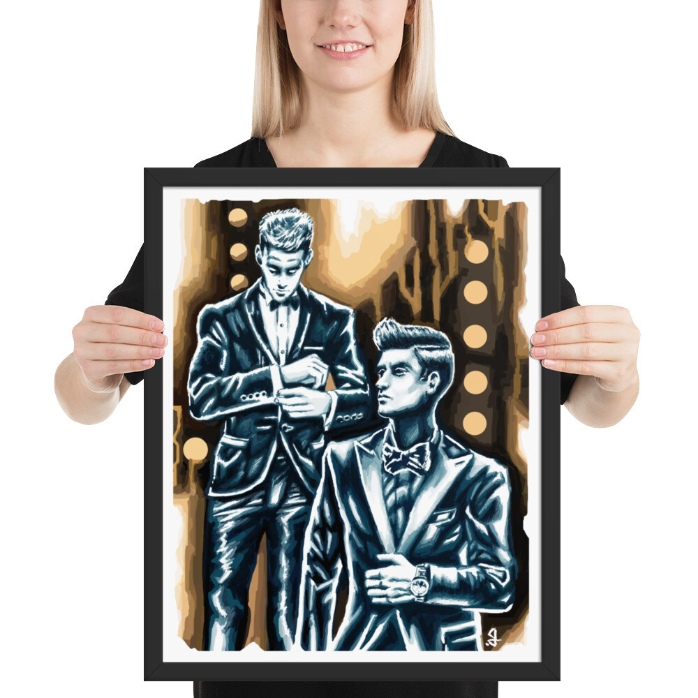 16x20 TWO TUXEDOS FRAMED POSTER