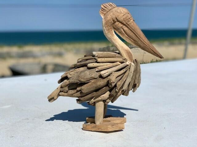 Driftwood Pelican Statue