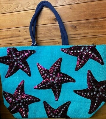 Turquoise Starfish Tote