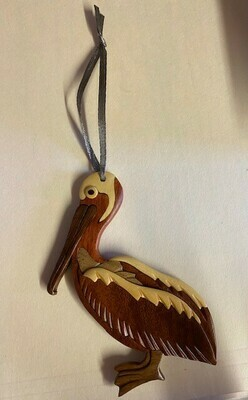 Handcrafted- Wooden Pelican Ornament