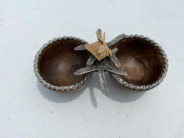 Starfish Double Dip Bowl Serving Dish