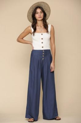 Linen High Waisted Wide Leg Button Front Pants